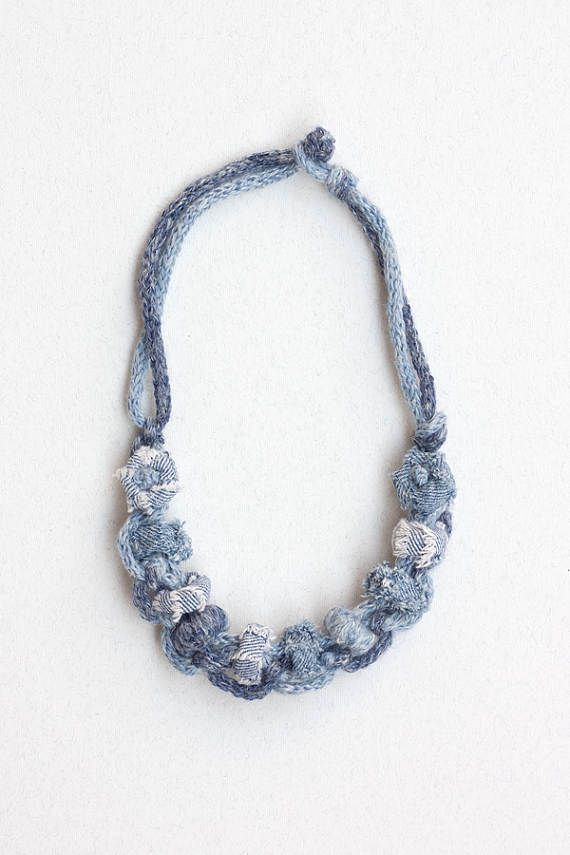 Eco-friendly jeans necklace recycled textile jewelry denim