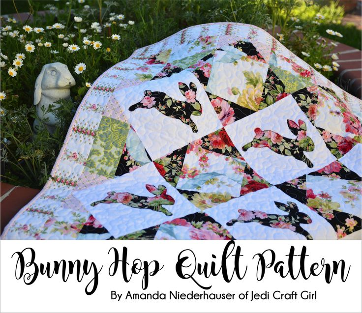 Free Funny Hop Quilt Pattern!!   Easter quilt, bunny quilt, wall hanging, appliqué, spring quilt, Sizzix quilt