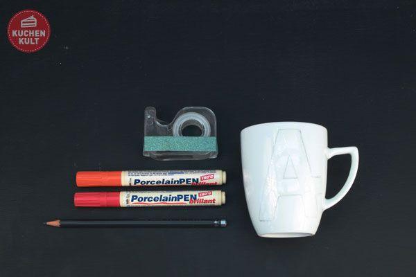 Tassen selbst gestalten Tassen selbst bemalen Tassen beschriften Anleitung Masking Tape Klebeband Buchstabe