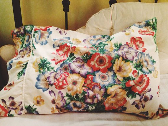 Pillow sham / case Anemone print on cotton by SuiteJoh on Etsy, $80.00