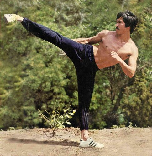 """Bruce Lee-true side kick... """"When you can kick a palm tree with your hardest kick and you are not moved off balance-then you will have understood how to kick""""..."""