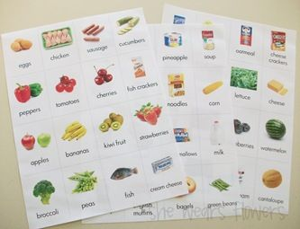 Food pictures with words.  Help with grocery shopping & would be good for sorting activities too!