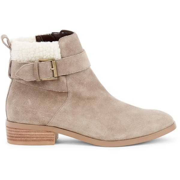 Sole Society Austen Shearling Bootie ($100) ❤ liked on Polyvore featuring shoes, boots, ankle booties, mushroom, shearling boots, ankle boots, shearling bootie, sheep fur boots and shearling ankle boots