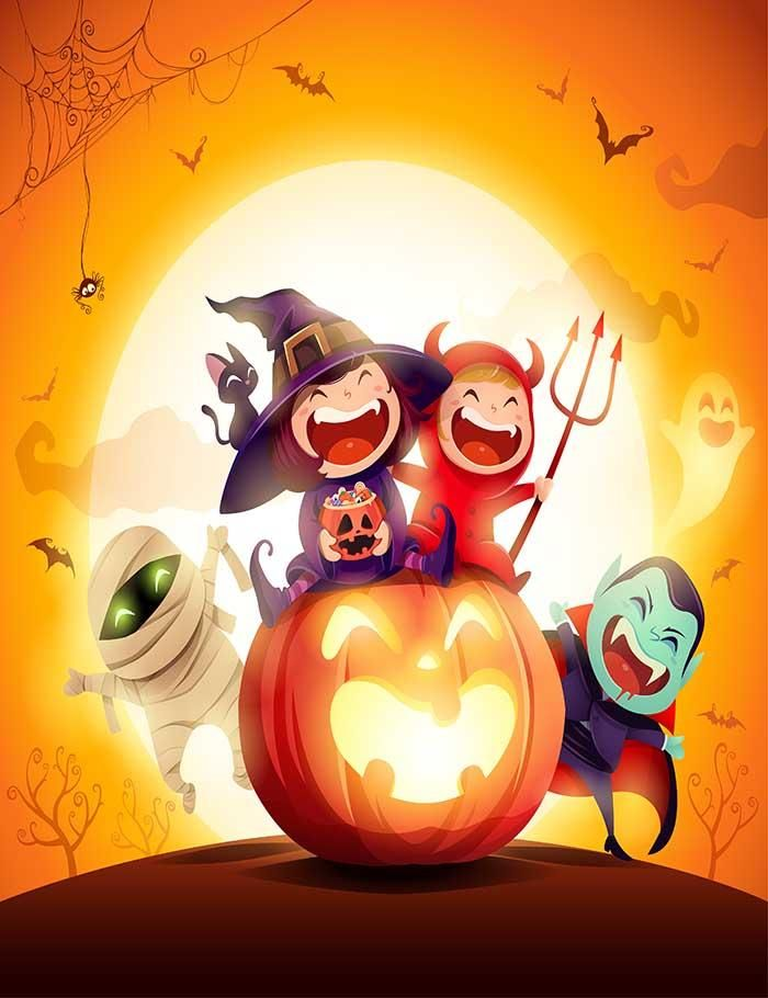 Printed Cartoon For Halloween Kids Party Photography Backdrop J