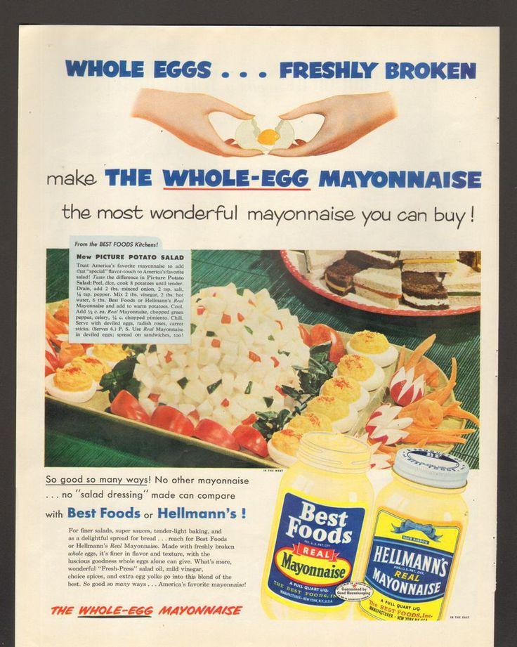 1952 Print Advertisement Ad Best Foods or Hellmans Mayonnaise Potato Salad…