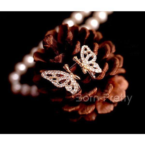 $2.67 1 Pair Delicate Butterfly Rhinestone Design Earrings Posh Ear Studs - BornPrettyStore.com