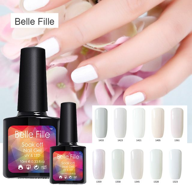 10ml Candy White UV lamp Colors Gel Nail Polish Nails Gel Professional Esmalte Fashion Semi Permanent Nail Gel Polish Bling Glue