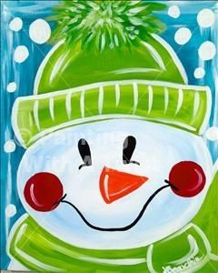 Cute Frosty the snowman canvas paint idea for wall decor. Canvas painting. Wall art. Merry Christmas. Winter. Red, green, blue and white. Snowflakes. Personalize. Snowman.