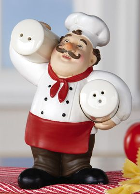 Italian Chef Kitchen Décor Salt & Pepper Holder