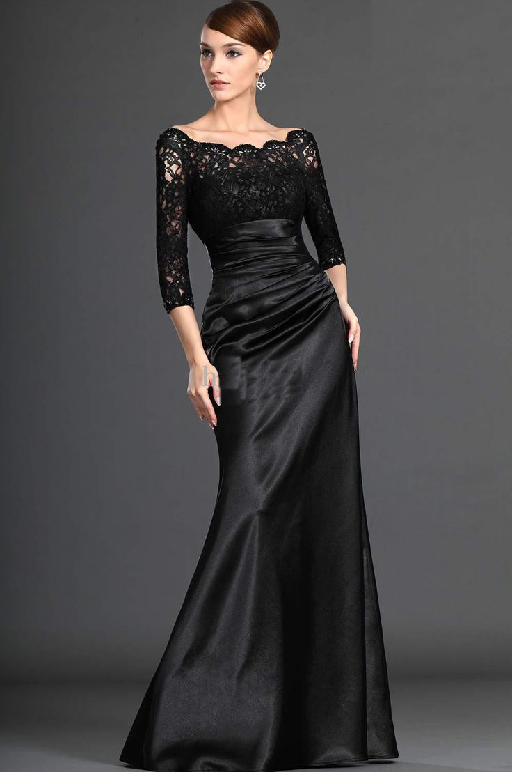 long black bridesmaid dresses | 2013 Size Black Long-Sleeve Wedding Dress Bridal Gown /Evening Dress ...