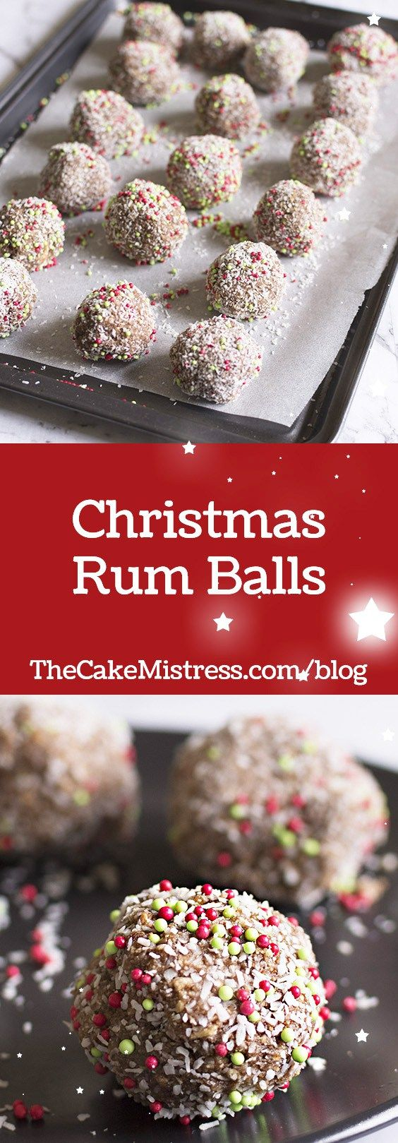 These festive Christmas Rum Balls make great gifts and they're so easy to make! #christmas #baking #rumballs