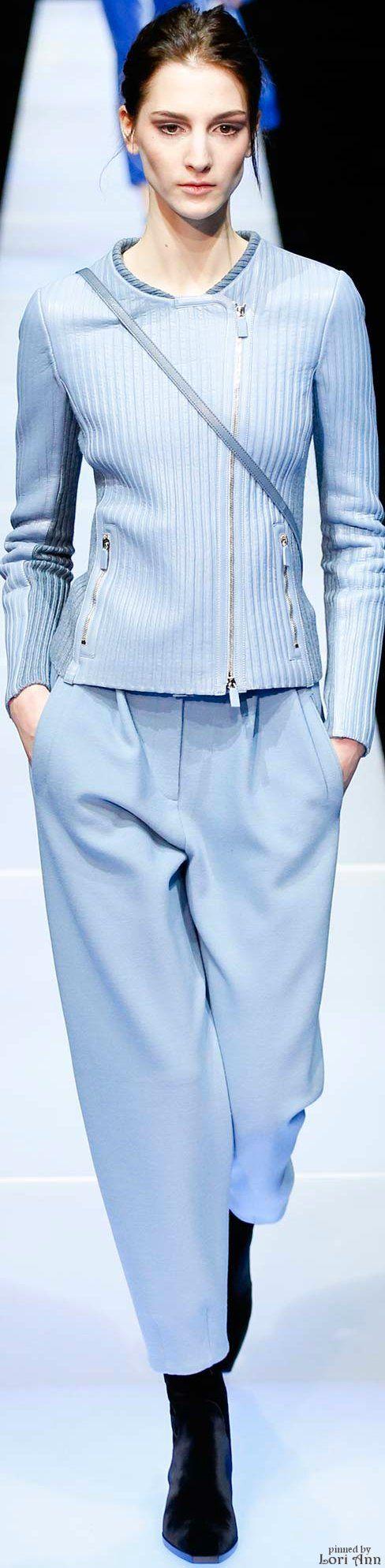 Giorgio Armani ~ Fall Slightly Cropped Jacket w Zipper Closures  Soft Blue 2015