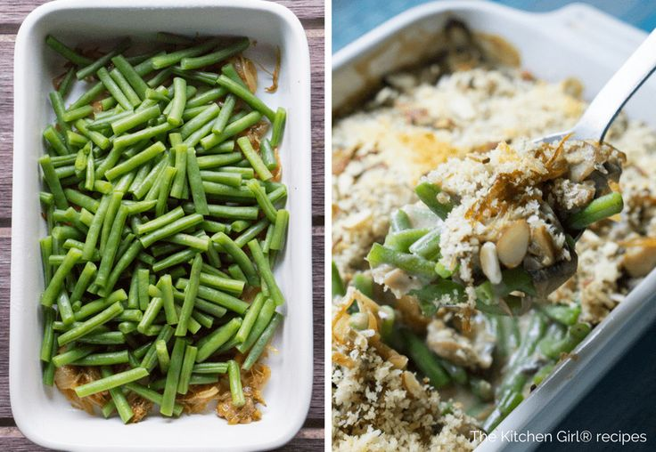 I Can't Believe Its' Vegan! Green Bean Casserole! Healthy disguised as holiday diet-buster. Creamy, crispy, savory, and caramelized…and made with almond milk! thekitchengirl.com