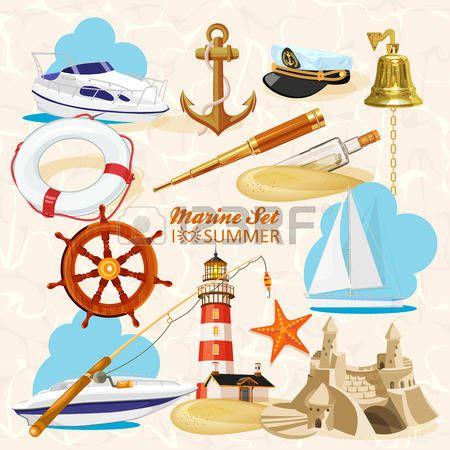 âncora: Jogo de elementos n�uticos ou navais com �ncora, roda do navio, cruzou tridentes, farol, sino, haste, estrelas do mar, telesc�pio, corda de salvamento, frasco de vidro com mensagem para o projeto her�ldica marinho