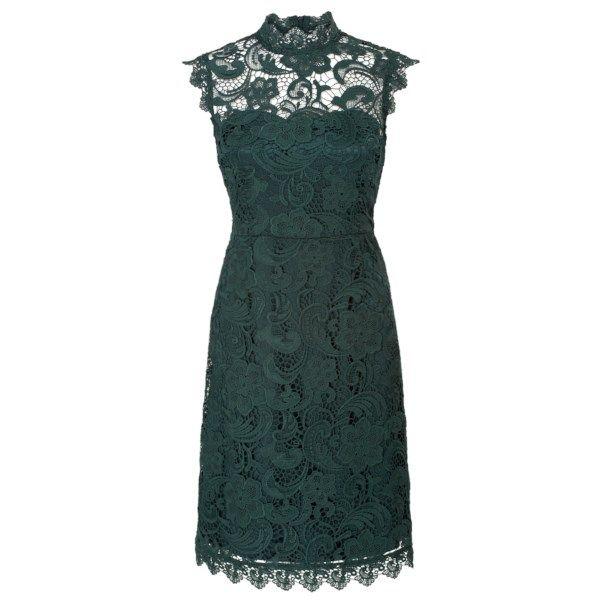 Kanten jurk met gesloten hals Groen