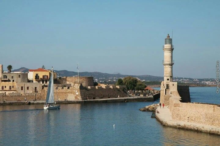 Lighthouse, old harbor, Chania, Crete, Greece