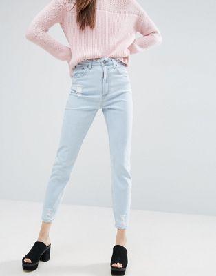 Джинсы слим в винтажном стиле с высокой талией, необработанной отделкой на поясе и необработанным краем ASOS FARLEIGH