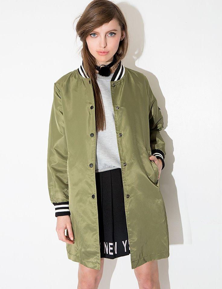 Oversize Olive Varsity Jacket $126.00