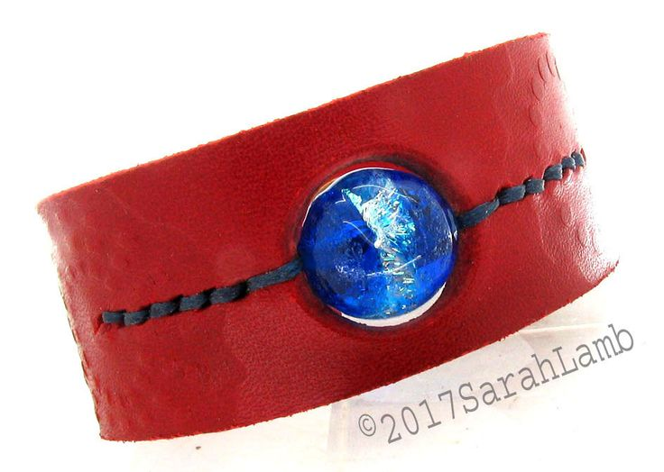 Red leather cuff with blue dichroic glass lampwork bead by sarahclamb on Etsy