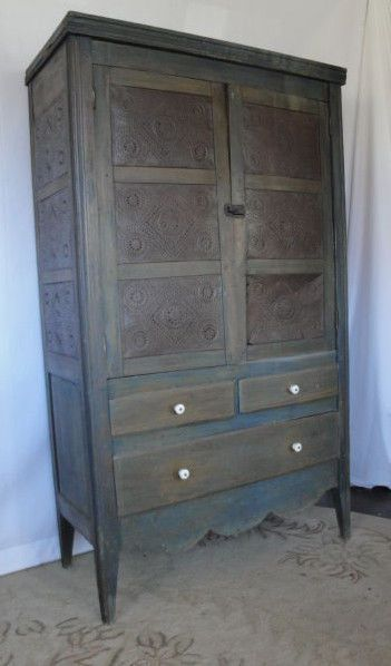 Antique 1860s Pine Blue Primitive Farm Made 12 Punch Tin Pie Safe Cupboard.  Primitive Painted FurnitureCountry ...