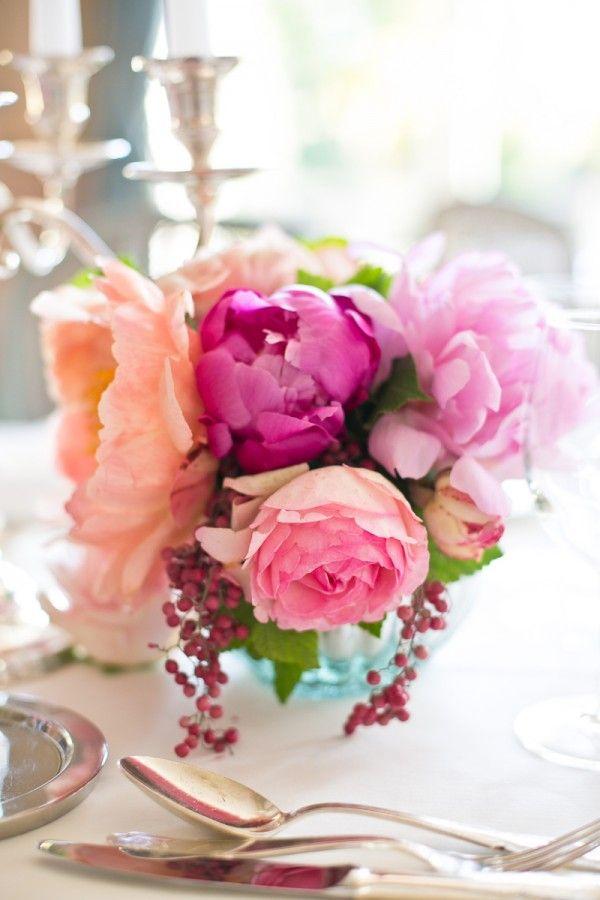 Pink peony centerpiece wedding peonies and