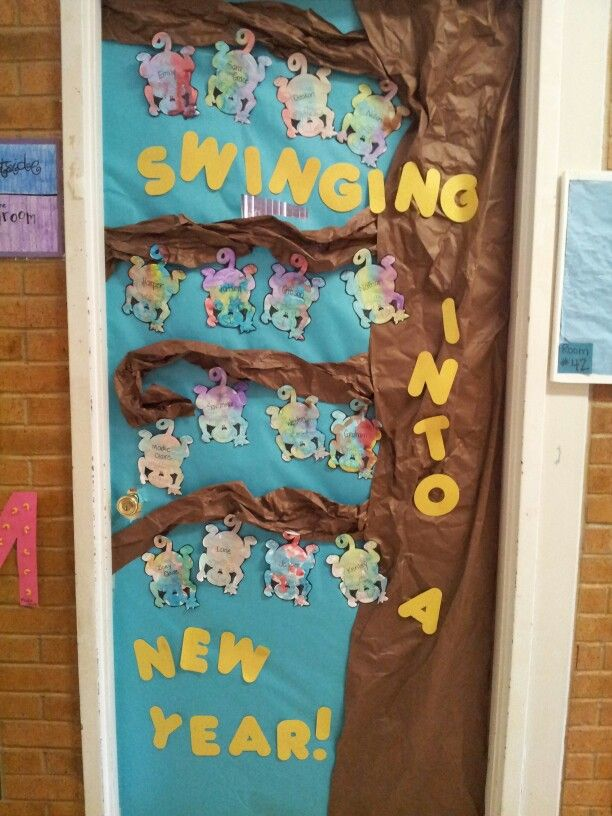 Classroom Ideas For New Years ~ New year door decoration each child watercolored a monkey