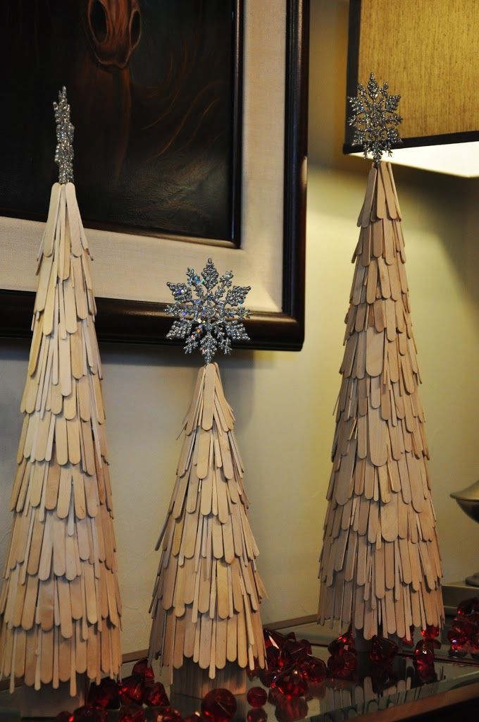 Elegant Craft Stick Christmas Trees Visit Site for Tutorial Note: This site will take you to the original site for instructions
