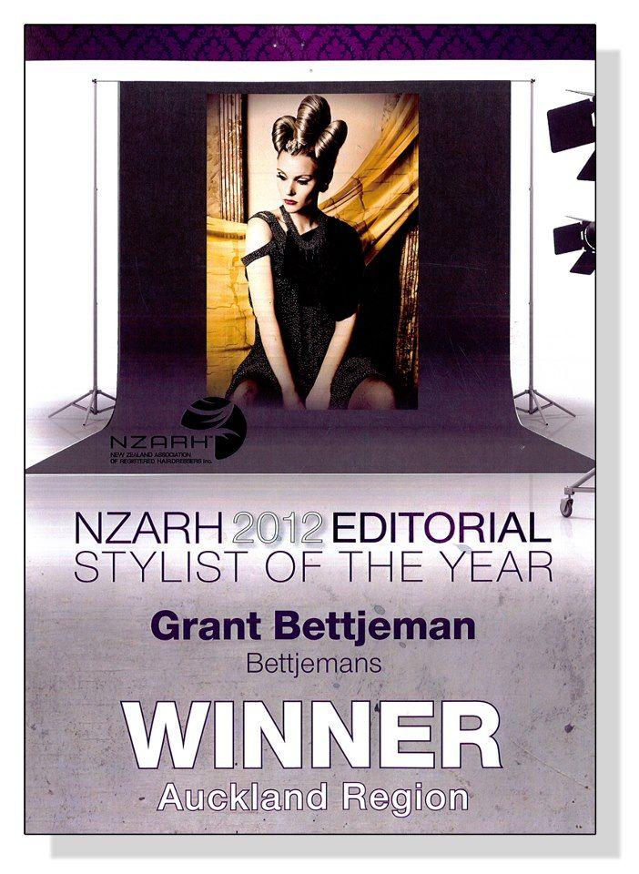 NZARH Editorial Stylist Awards 2012 Winner Announced - Bettjemans Hairdressers Auckland