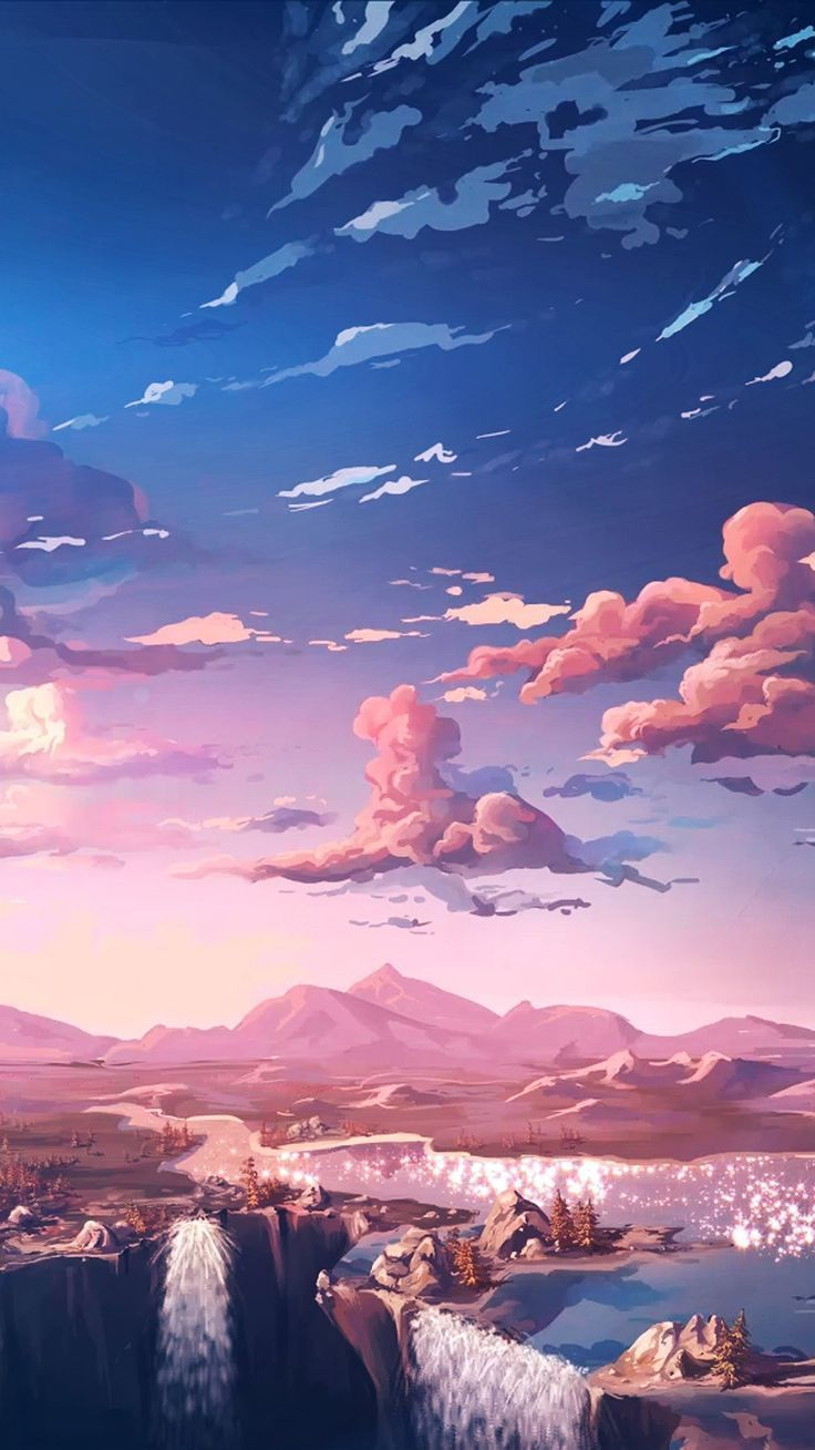 Blue and pink ombre gradient sky. Digital landscape painting of ...