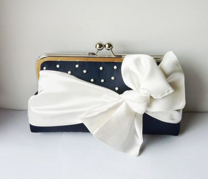 Navy Clutch Bag Handtasche With Bow And