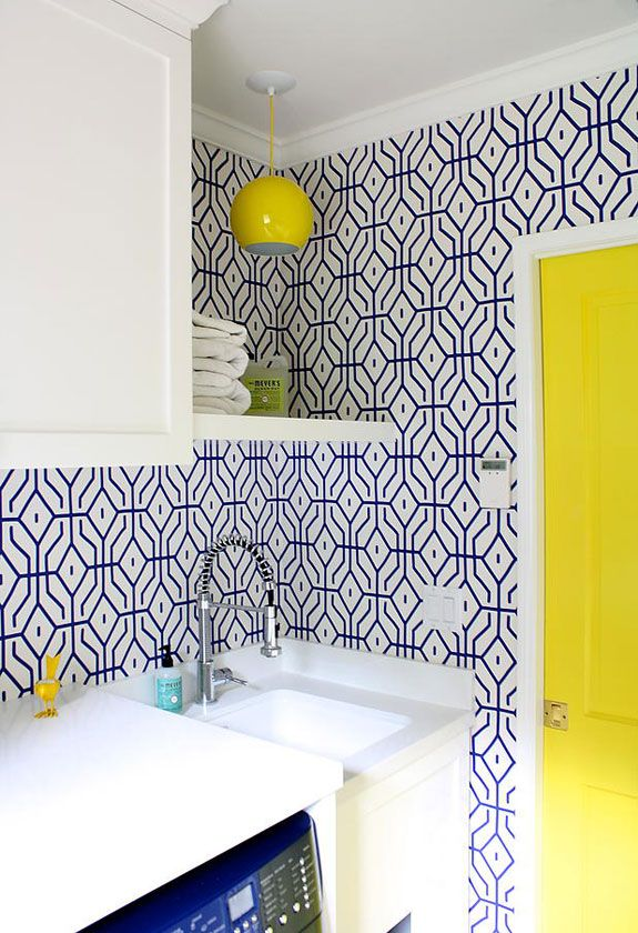 Blue and yellow laundry room. Another project by Carla Lane - desire to inspire - desiretoinspire.net