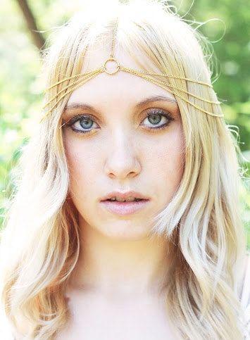 Simple 3 Tier Gold Chain Headdress, Head Chain, Chain Headband, Chain Headpiece, Bridal Head Piece. $19.90, via Etsy.