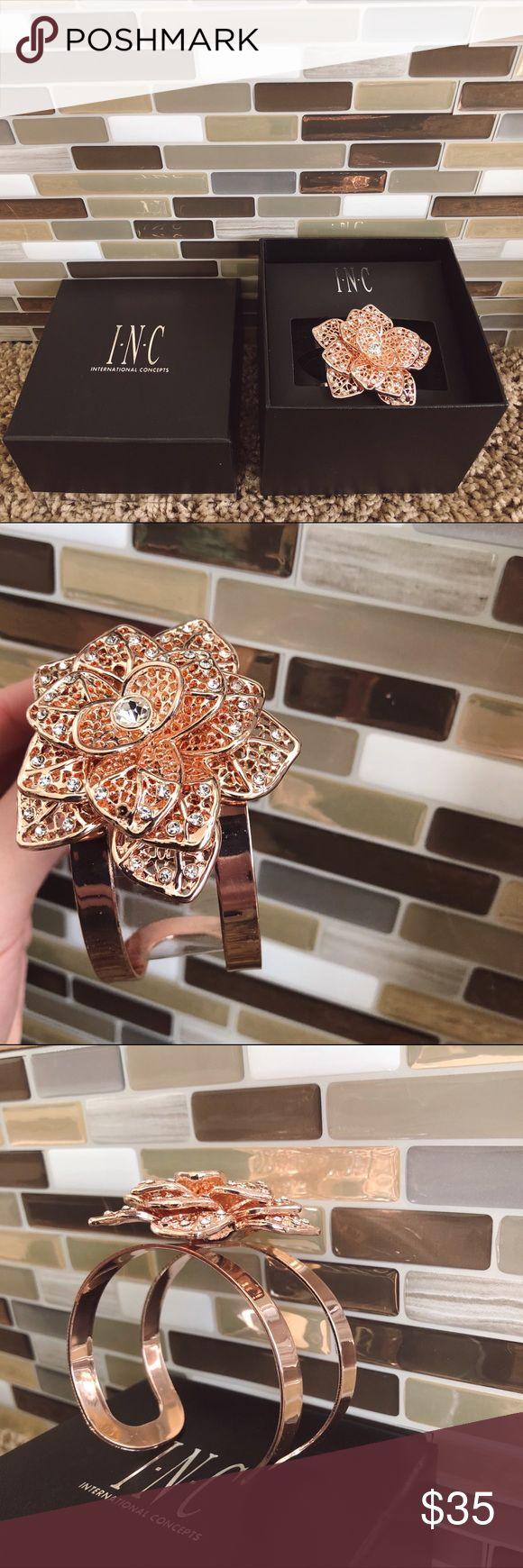 ღ INC diamond & rose gold bracelet beautiful bracelet from international concepts. never been worn. rose gold flower with diamond studs throughout. comes in box INC International Concepts Jewelry Bracelets