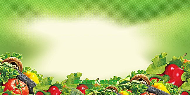 Green Fruits And Vegetables Poster Background Material ...