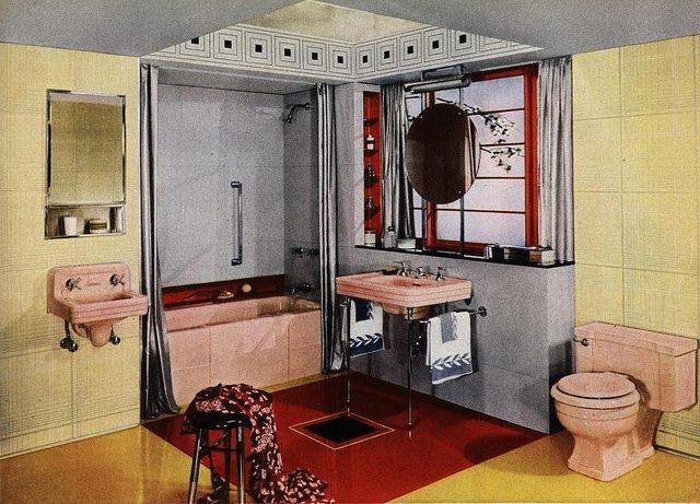 312 best art deco bathroom images on pinterest art deco bathroom bathroom ideas and retro. Black Bedroom Furniture Sets. Home Design Ideas