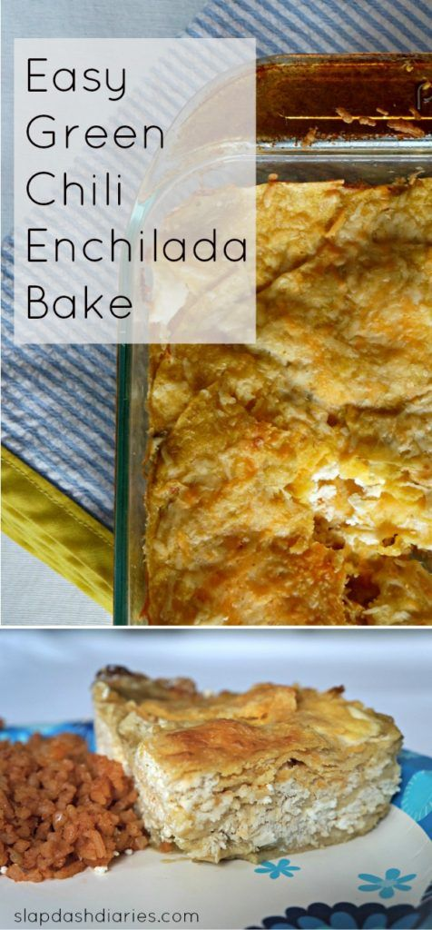 One of my all-time favorite EASY and cheap recipes for feeding a lot of people! This green chili enchilada bake only uses five ingredients, and it way less work than traditional enchiladas. I like to take this to people who need a meal (after being sick or having a baby) because kids and adults love it. #mexicanfood #easyrecipes #enchiladas #crowdpleasingrecipes #yum #slapdasheats