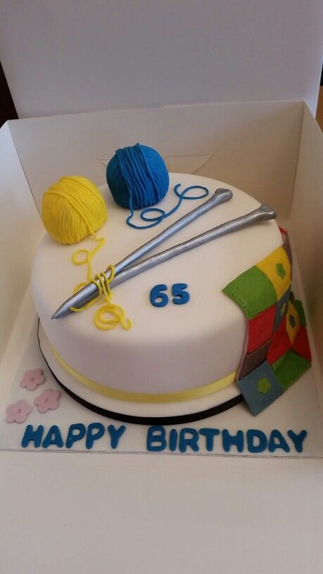 Knitting & Patchwork themed cake