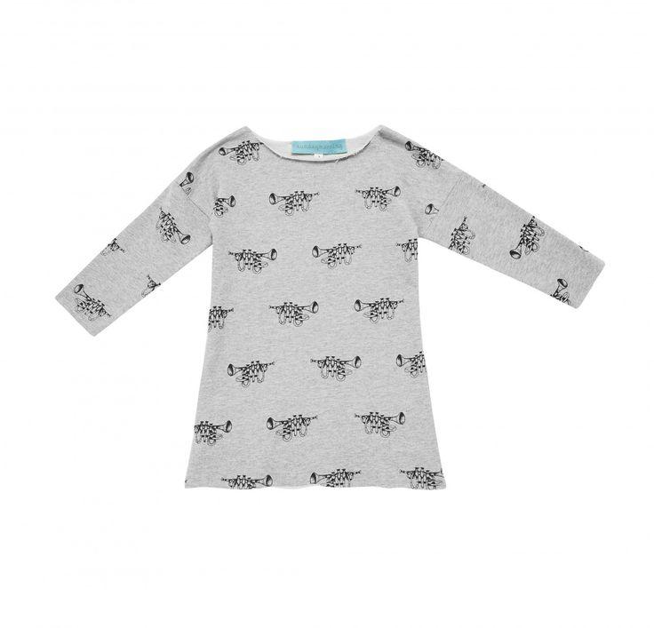 Sunday Morning Designs Kids Trumpet print sweater dress