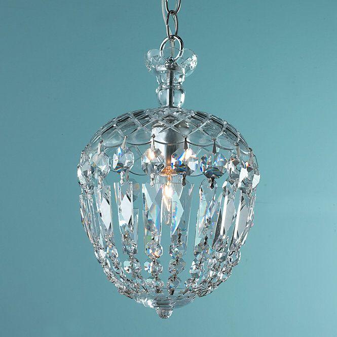 Reproduction Cut Crystal Basket Flush Mount Pendant chrome