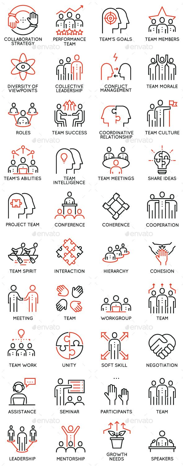 Team Work and Career Training Icons Template – #Team #Work #Career #Training #Pe…