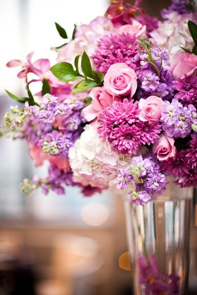 Modern Ivory Pink Purple White Centerpiece reception wedding flowers, wedding decor, wedding flower centerpiece, wedding flower arrangement, add pic source on comment and we will update it. www.myfloweraffair.com can create this beautiful wedding flower look.