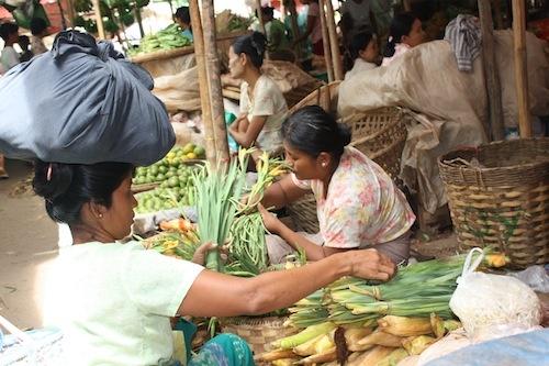 at the market in Nyaung U in Bagan Myanmar (Burma)