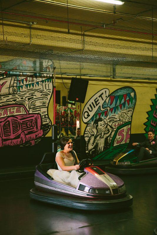 Wedding fun on the Dodgem Cars @ Luna Park Sydney.  Image: Cavanagh Photography http://cavanaghphotography.com.au