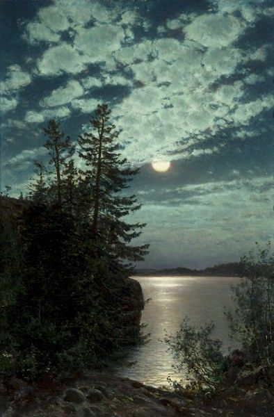 Moonlight - Munsterhjelm, Hjalmar Finnish, 1840-1905 oil on canvas laid on cardboard, 52x35