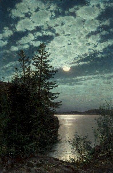 Moonlight - Munsterhjelm, Hjalmar Finnish, 1840-1905 oil on canvas laid on cardboard, 52x35