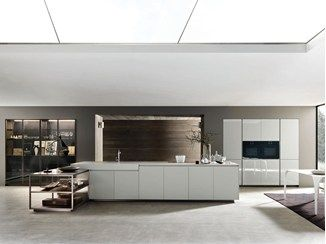 Lacquered fitted kitchen with island SILICA ISLAND