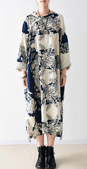 2016 fall white oversized linen dress plus size cotton fall dresses