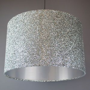 Silver Sequin And Glitter Drum Lampshade #GlitterBedroom
