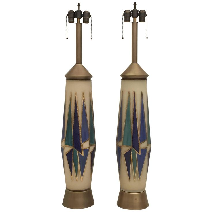 Giant Opaline Glass Mid-Century Table or Floor Lamps with Abstract Design