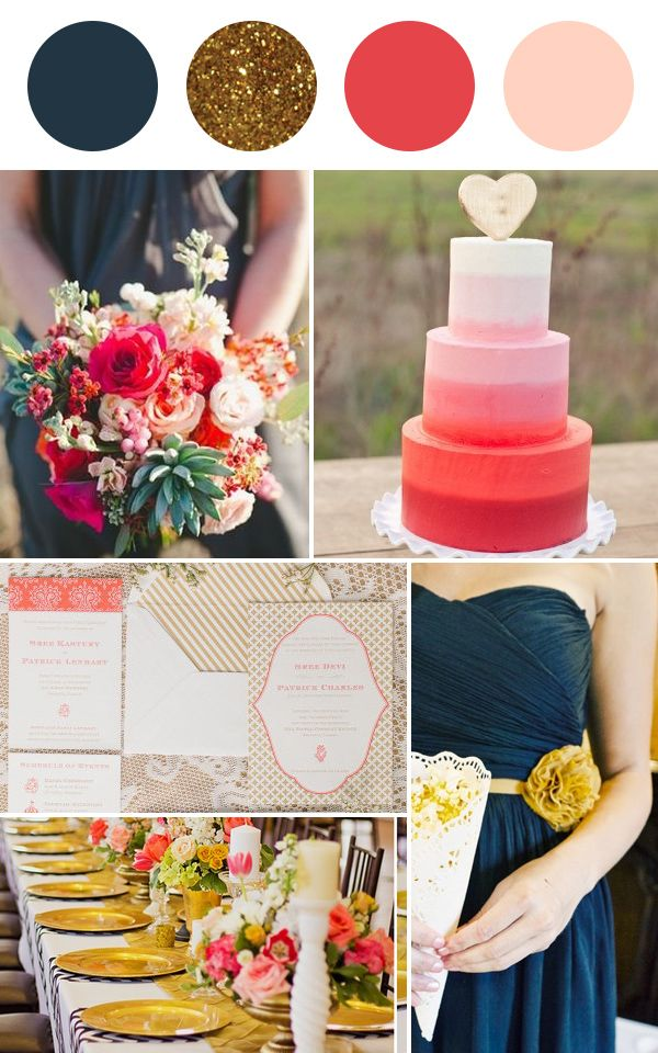 I absolutely love thess colors for a wedding. I'd add turquoise too though! Navy, gold, coral and blush wedding colour palette | Squirrelly Minds